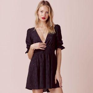 Spring Eyelet Swing Dress in Black